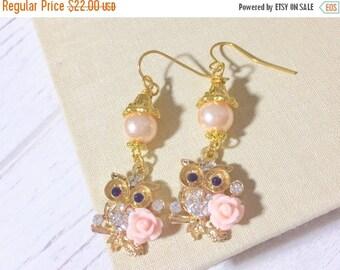 SALE Owl Earrings, Rhinestone Owls with Pink Flowers, Woodland Earrings, Bird Earrings, Pretty Dangle Earrings, Rhinestone Owl Earrings (DE1