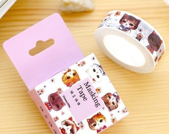 Cat cats kitten kittens paws heads faces cute kawaii washi tape deco tape masking tape scrapbook planner happy mail craft bullet journal