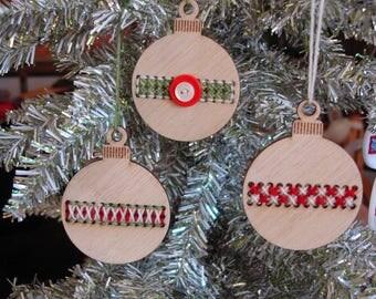 SALE Cross stitch ornament kit- DIY - medium bamboo