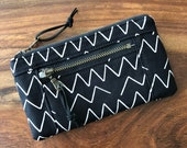 Mini Double Zip Pouch - Black Organic Lines and Shapes