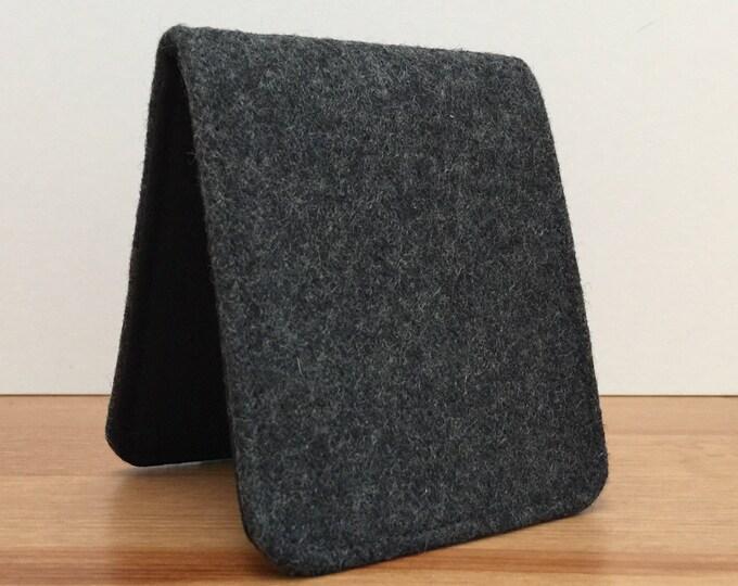 Mens Slim Minimalist Wallet in Dark Grey Wool