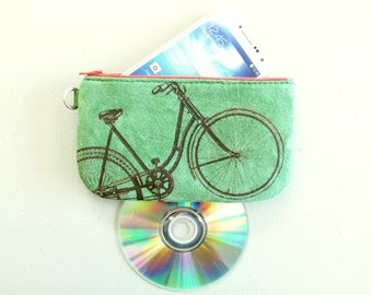 Bicycle Phone Case Pencil Case Small Electronics Case Green Reclaimed Suede Pigskin