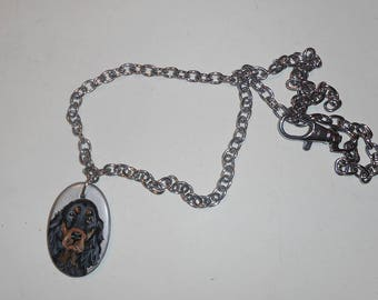 Gordon Setter Dog Chain Necklace Hand Painted Ceramic Pendant