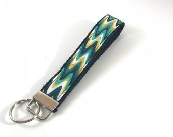 Blue Floral Teal Black Swirls Key Fob Chain