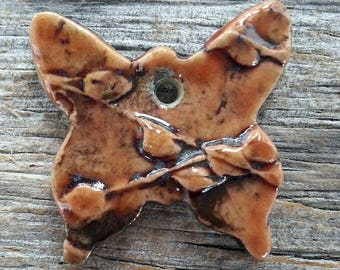 Ceramic Pendant  Butterfly  Dark Orange  by Mary Harding