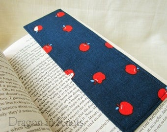 Apple Bookmark - Blue and Red Fabric Page Keeper, Apple for the Teacher, Back to School Gift, Sewn Cotton Bookmarker, Fruit Book Accessory