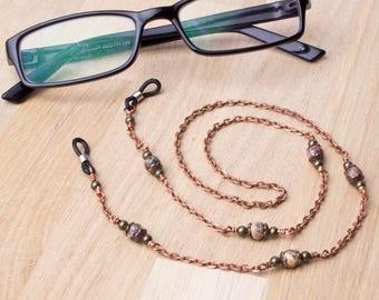 Copper glasses chain - Leopard skin agate gemstone eyeglasses lanyard | Eyewear holder accessories | Sunglasses chain | spectacle neck cord