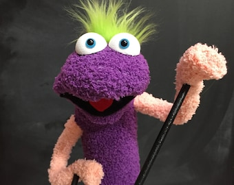 Sock Puppet Monster, Hand and Rod Puppet, Purple Puppet, Green Hair, Arm Rods