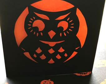 Owl Hand Paper Cut Card