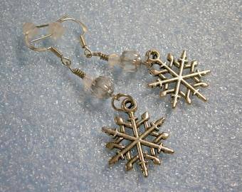 Beaded Earrings in Pewter Snowflakes, Pierced Earwires OOAK Earrings, Willow Glass