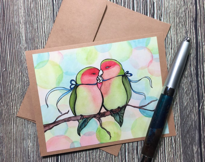 Featured listing image: Love Birds Valentine Original Watercolor Print - Kraft Note Card