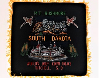 Vintage souvenir decorative pillow cover / case / sham - Mt Rushmore South Dakota, Corn Palace Mitchell, SD -black velvet with yellow fringe