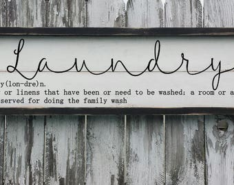 Laundry Sign | Laundry Room Sign | FARMHOUSE DECOR | Definition Sign | Vintage Wood Sign | Laundry Room | Calligraphy | Washroom Sign |Chic