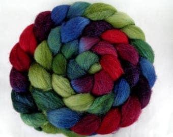 3.7oz, merino silk roving, handpainted spinning fiber, wool roving, felting wool, roving, hand dyed roving, wool silk roving, purple, teal