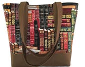 library book tote bag, book lovers bag, back to school, teacher gift, unique gift idea, book bag, cotton bag, tote bag for school, gift idea