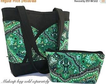 SALE Kelly green handbag, tote bag, womens tote bag, green handbag, handbag with pockets, handbags and purses, gift for her, paisley handbag