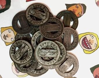 SALE 3pcs INDIANAOLIS RAILWAYS Tokens Vintage Aged Coins