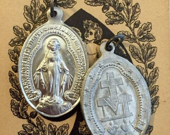 SALE 2pcs VINTAGE MIRACULOUS Medals Religious Virgin Mary France Signed Penin & Bouix