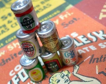 SALE TINY BEER Cans 6pcs Vintage Brand Miniature Charms