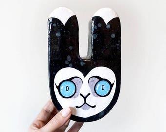 Papier Mache Sculpture Small Bun Head - Original Painting on bunny rabbit shaped handmade paper object
