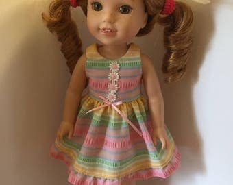 14.5 inch doll clothes pastel stripes and daisies sundress with matching sandals and straw hat fits dolls such as Wellie Wishers