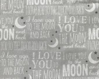 Weighted Blanket - Adult or Child - Gray I love you to the moon and back - Choose your weight (up to 15 lbs) and minky color - custom