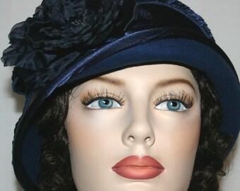 Kentucky Derby Hat Flapper Hat Cloche Hat Downton Abbey Hat Gatsby Hat Edwardian Hat Roaring Twenties Women's Navy Blue Hat - Madame Ronda