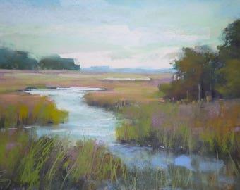 LOWCOUNTRY ART Marsh Landscape Original Pastel Painting 11x21
