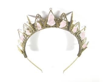 Obscura Rose Quartz Crown - Queen of the Ruins Collection - by Loschy Designs