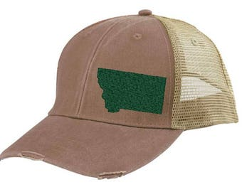 Distressed Snapback Trucker Hat -  Montana off-center state pride hat - Many Colors available