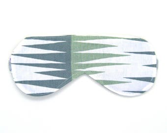 Sleeping Eye Mask / Night Eye Mask / Travel Eye Mask / Sleep Mask - Sage Green and Gray Geometric
