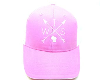 Clearance - Sale - Gift - Gracie Designs Hat - Pink WIS arrows trucker hat