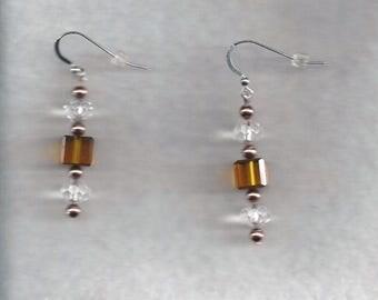 Amber Crystal Dangle Earrings