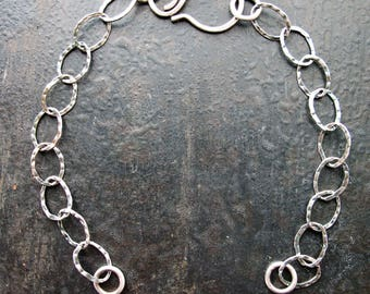 """Antiqued Sterling Silver Hammes Textured Chain Segments with Sterling Hook Clasp - 6"""" in length"""