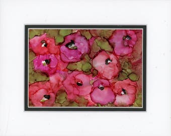 Alcohol Ink Art, Ink Painting, Abstract Floral, Floral Painting, Pinkish Coral Flowers