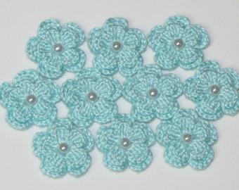 10 Pcs LIGHT AQUA Crocheted Flowers Applique Embellishment