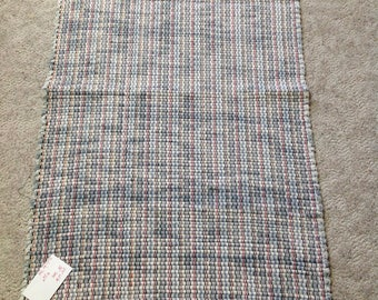 Rag Rug 38 inches long by 23 inches wide off white with gray OOAK handcrafted floor rug home decor