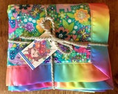 Soft Flannel Reversible Baby Blanket RAINBOW colors Receiving Blanket Baby Shower Gift Elephants and Trees Satin Binding