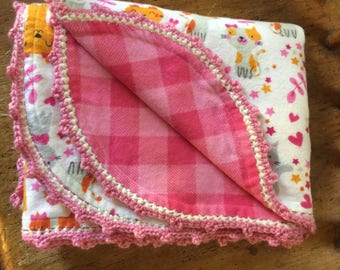 Baby Blanket, Kittens, hand made, soft, flannel, reversible, hand-crocheted decorative edging