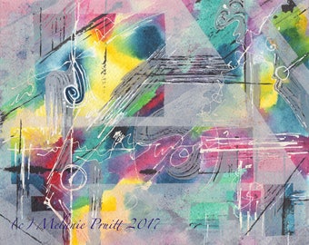 Rain Storm Original 8x10 abstract painting by M. Pruitt SFA
