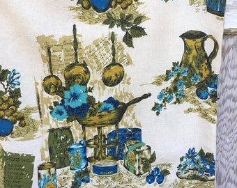 40% OFF- Retro Floral Fabric-Upholstery Weight-Blues and Greens