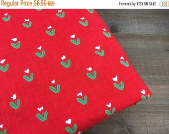 CRAZY SALE- Vintage Floral Fabric-Red Quilting Cotton