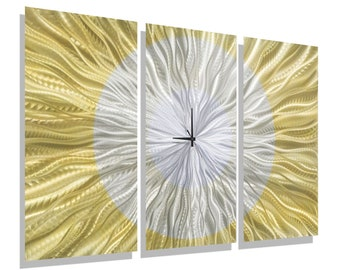 Gold & Silver Modern Wall Clock - Contemporary Functional Art - Handcrafted Abstract Timepiece - Hanging Accent - Golden Moment by Jon Allen
