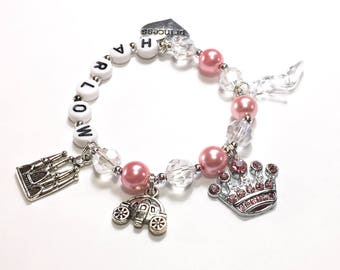 Princess Charm Bracelet. Princess Jewelry Personalized Name Bracelet Pink Pearl Bracelet Little Girl Princess Jewelry YOU CHOOSE pearl color