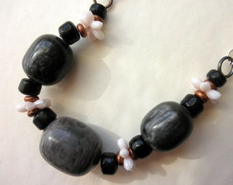 SALE Choker Necklace Barrel Bead Spring Theme Gray Pink Black Silver