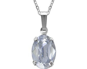 Swarovski Crystal Oval Pendant Necklace Sterling Silver Blue Shade or– CHOICE OF COLOURS