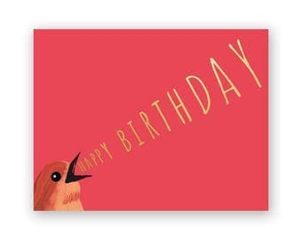 Bird Yelling Happy Birthday - Birds - Greeting - Stationery