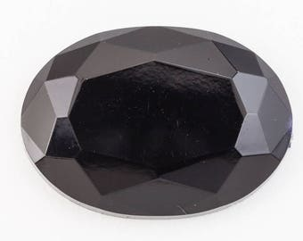 18mm x 25mm Faceted Black Oval Cabochon #UP636