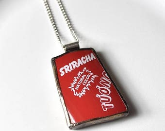 SUMMER SALE Broken China Jewelry Pendant - Sriracha