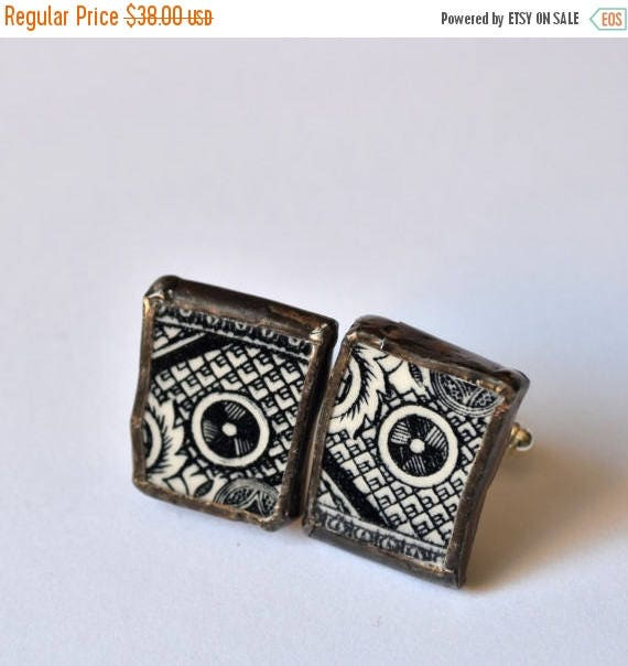 VALENTINE SALE Broken China Cuff Links - Black and White